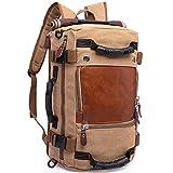KAKA Backpack Fashion Unisex Travel Backpack Carry-On Bag Flight Approved Weekender Duffle Backpack Canvas Rucksack fit 15.6 inch Laptop (khiki)