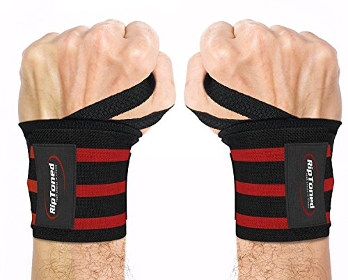 Rip Toned Wrist Wraps - 18' Professional Grade with Thumb Loops - Wrist Support Braces - Men & Women - Weight Lifting, Crossfit, Powerlifting, Strength Training - Bonus Ebook (Red Medium Stiff)