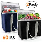 Insulated-Grocery-Bag-Thermal-Cooler-Shopping-Tote 2 Pack for Hot Cold Frozen Food Transport X-Large 60LBS Reusable and Durable with Zipper Top Long Handles Collapsible Black Navy Blue
