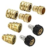 Prince Mark Ultimate Pressure Washer Adapter Set, Quick Disconnect Kit, M22 Swivel to 3/8' Quick Connect, 3/4' to Quick Release, 8-Pack
