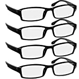 Reading Glasees 2.0 | 4 Pack Black | Readers for Men & Women Spring Arms & Dura-Tight Screws | Always Have a Stylish Look and Crystal Clear Vision When You Need It