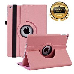 51BQpC2bx4L - Case for iPad 9.7 inch 2018 2017/ipad air/ipad air 2 Lightweight Smart Anti-Scratch Advanced Leather 360 Degree Rotating Stand Apple Cover with Auto Wake/Sleep (Pink)