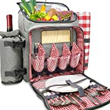 Nature Gear XL Picnic Backpack - 4 Person Insulated Design - Waterproof Blanket and Full Cutlery Set