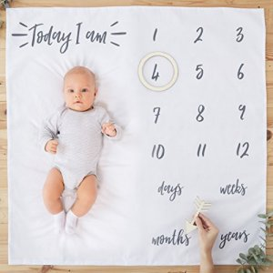 Ginger Ray White Fabric Baby Milestone Blanket Cards – 1 Pack – Oh Baby! 51BRyZf1dhL