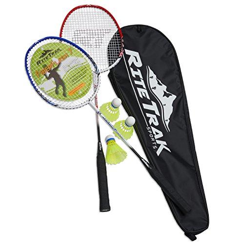 RiteTrak Sports FiberFlash 7 Badminton Racket Set, Featuring 2 Carbon Fiber Shaft Racquets, 3 Shuttlecocks Plus Fabric Carrying Bag All Included (Red/Blue/White)