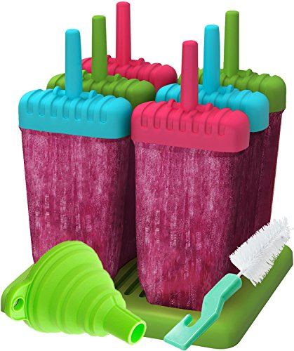 Ozera Popsicle Molds Maker, Reusable Ice Pop Molds Trays for Homemade Popsicles - Set of 6 - With Silicone Funnel & Cleaning Brush - Three Colors