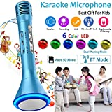 Wireless Karaoke Microphone for Kids Microphone with Speaker Colorful LED Portable Handheld Karaoke Player Mic Machine for Sport Outdoor Camping Travel Birthday Party Gift KTV Music Singing Playing