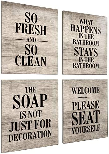 Excello Global Products Wooden Bathroom Humor Signs : Decor for Home, Restaurant, or Business – 8×10 Inches – Ready to Hang – (Pack of 4, Assortment 1)