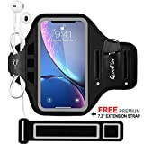 "QUANFUN Compatible iPhone Xs X 8/7/6/S Plus Sports Armband, Fitness Running Workout Gym Jogging Case Holder Arm Band Strap Compatible Galaxy S8 S7 Plus Edge Note8, Fits 5.5"" to 6.2"" Cell Phones"