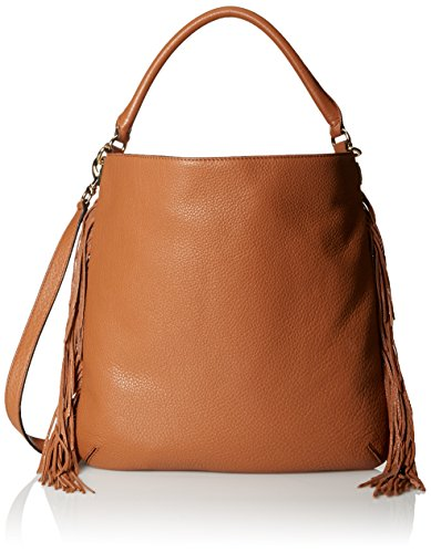 51BVa1g10XL Hobo bag in pebbled cowhide leather featuring gold-tone hardware and fringe at side seams Single rolled shoulder strap and removable/adjustable cross-body strap