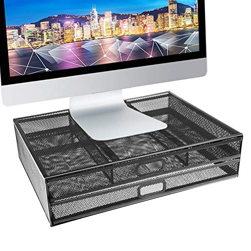 Monitor Stand Riser - Dual Stack Pull Out Storage Drawer Mesh Metal Desk Organizer Compatible with Computer Monitor, Laptop, Printer, Notebook - Holds up to 33 lbs