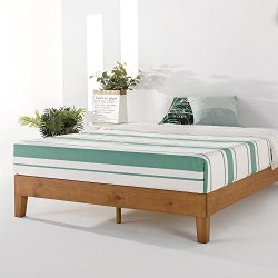 Mellow Naturalista Grand – 12 Inch Solid Wood Platform Bed with Wooden Slats – No Box Spring Needed – Queen (Natural…