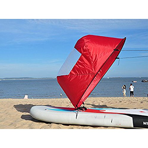 "Dyna-Living 42"" Durable Downwind Wind Sail Sup Paddle Board Instant Popup for Kayak Boat Sailboat Canoe Foldable Style (Red)"