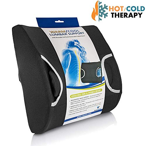 Vaunn Medical Lumbar Back Support Cushion Pillow with Warm/Cool Gel Pad & Removable Firm Insert