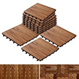Acacia Wood Tile Flooring, Patio Pavers & Composite Decking | Interlocking Patio Tiles for Outdoor & Indoor | Stripe Pattern 12'×12'- Pack of 11 Tiles