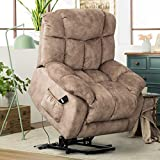 CANMOV Power Lift Recliner Chair - Heavy Duty and Safety Motion Reclining Mechanism-Antiskid Fabric Sofa Living Room Chair with Overstuffed Design, Khaki
