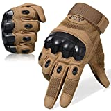 JIUSY Touch Screen Military Rubber Hard Knuckle Tactical Gloves Full Finger Airsoft Paintball Outdoor Army Gear Sports Cycling Motorcycle Riding Shooting Hunting Size Large Brown