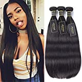 Modernlady 8A Brazilian Straight Virgin Hair Bundle Deals 100% Unprocessed Virgin Human Hair Weave No Tangle Natural Color (12' 14' 16')