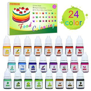 24 Colour Food Colouring – Liquid Concentrated Cake Food Colouring Set for Baking, Decorating, Cooking and Icing – Rainbow Food Colours Dye for DIY Slime Making and Crafts – 6ml Bottles 51BeswaEPVL