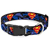 "Buckle Down Plastic Clip Collar - Superman Shield Camo Blue - 1.5"" Wide - Fits 18-32"" Neck - Large"