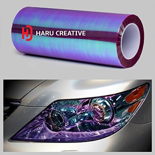 Haru Creative - Ultra gloss Neo Chrome Film Sticker - Headlight, Tail light and Fog light tint - Chameleon Purple 12'x96'