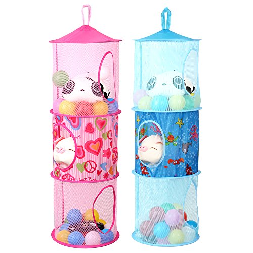 Hanging Mesh Space Saver Bags Organizer 3 Compartments Toy Storage Baskets