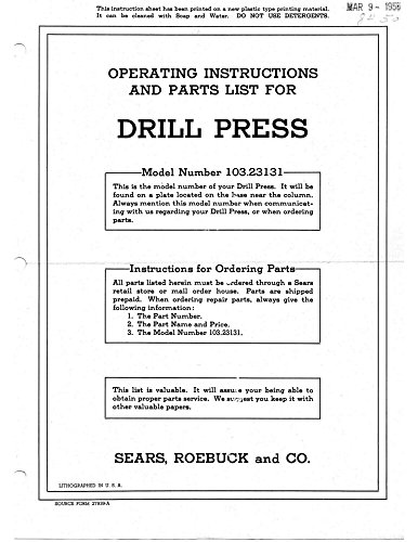 "1955 Craftsman 103.23131 15"" Drill Press-Operating Instructions & Parts List ..."