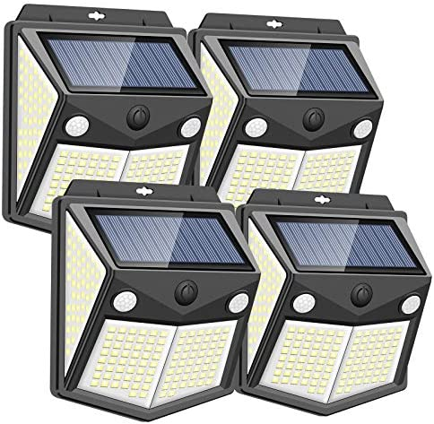 200LED Wireless Solar Lights Outdoor, Motion Sensor Solar Lights with [160° Detect Angle, 300° Lighting Angle], IP65 Level Waterproof Security Lights for Fence, Garden, Yard, Garage, Pathway(4 Pack)