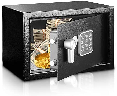 Safe and Lock Box – Safe Box, Safes And Lock Boxes, Money Box, Safety Boxes for Home, Digital Safe Box, Steel Alloy Drop Safe, Includes Keys- SereneLife SLSFE14