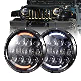 COWONE 7' inch 105W Brightest LED Headlights with White DRL/Amber Turn Signal for Jeep Wrangler JK TJ LJ 1997-2018