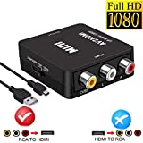 RCA to HDMI, AV to HDMI,YUANLY 1080P Mini RCA Composite CVBS AV to HDMI Video Audio Converter Adapter Supporting PAL/NTSC with USB Charge Cable for PC Laptop Xbox PS4 PS3 TV STB VHS VCR Camera DVD