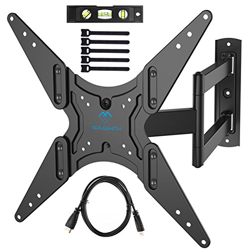 "PERLESMITH TV Wall Mount for 26'-55"" TVs with Swivel & Extends 18.5""- Wall Mount TV Bracket VESA 400x400 Fits LED, LCD, OLED Flat Screen TVs Up to 88 lbs - with HDMI Cable, Bubble Level & Cable Ties"