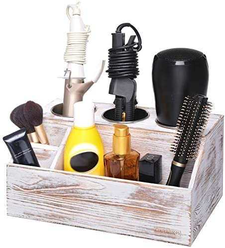 ROLOWAY Wooden Hair Tool Organizer – Blow Dryer Holder – Curling Iron Holder – Flat Iron Holder – Hair Styling Tools & Accessories Organizer – Bathroom Vanity Countertop Organizer (Rustic)