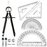 5 Piece Geometry School Set,with Quality Compass, Drawing Compass,Protractor, Set Squares (5 pcs-Black)