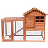 Merax Pet Rabbit Hutch Bunny Cage Wooden House Chicken Coops, Orange