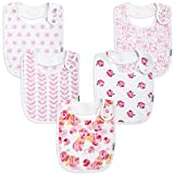 Premium, Organic Cotton Toddler Bibs, Unisex 5-Pack Extra Large Baby Bibs for Girls by KiddyStar, Perfect Baby Shower Gift for Feeding, Drooling and Teething, Adjustable 5 Positions (Floral)