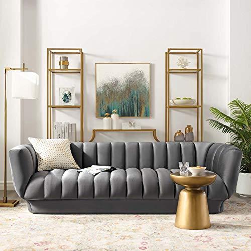 Tufted Velvet Grey Sofa - Goldilocks Effect