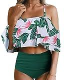 Tempt Me Women Two Piece Off Shoulder Ruffled Flounce Crop Bikini Top with Print Cut Out Bottoms Green Flower XL