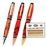 Legacy Woodturning, Cigar Pen Kit Starter Pack with Bushings, Hurricane M42 Cobalt Drill Bit, Pen Kits, Wood Pen Blank Sampler Pack