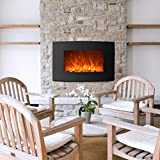 BestMassage 35' 750W/1500W Electric 2-in-1 Color Curve Glass Wall Mounted and Standing Fireplace Adjustable w/Remote, Black