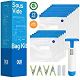 Sous Vide Bags for Joule and Anova   15 Reusable BPA Free Food Vacuum Sealer Bags with Vacuum Hand Pump! Sous Vide Bag in Various Sizes! More Space Saving   Food Storage Freezer Safe   Fits Any Sous Vide Cooker