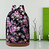 Vintage Women Girl Canvas Travel Satchel Shoulder Bag Backpack School Rucksack, so give your life comfort and easiness! it is long enough for daily use.(Black)