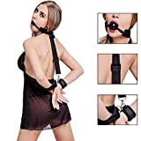 YSTR PU Leather Paly Buckle Belt Silicon Mouth Ball Open Breathable Mouth for Men Woman
