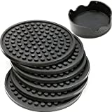ENKORE Drink Coasters Set of 6 Pack In Holder, Gray - Non-stick to Cup With Ridged Silicon Base, Steady Grip to Table to Stay Put, Deep Tray To Catch Drip and Spill, Large Enough for Over-size Glasses