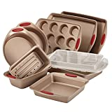 Product review for Rachael Ray 10-Piece Cucina Nonstick Bakeware Set, Latte Brown with Cranberry Red Handle