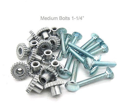 Pet Carrier Metal Fasteners Nuts Bolts (1-1/4' Medium Bolts, 16 Pack)
