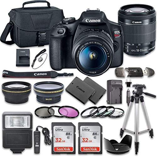 Canon EOS Rebel T7 DSLR Camera Bundle with Canon EF-S 18-55mm f/3.5-5.6 is II Lens + 2pc SanDisk 32GB Memory Cards