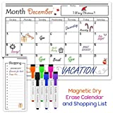 USA Made Magnetic Dry Erase Calendar for Refrigerator with 6 Markers & Magnetic Shopping List - Kitchen Fridge Calendar White Board, Schedule Planner Wall Set