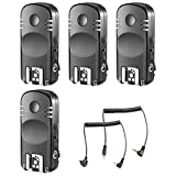 Neewer 4-Pack 2.4GHz 7-Channel Wireless Remote Flash Trigger Transceivers with C1 and C3 Shutter Cable for Canon 1D Mark II III IV 5D Mark II III IV 1100D 1000D 700D 650D 600D 500D 450D 100D 60D