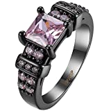 AWLY Jewelry Womens Black Gold Watch Design Princess Cut Pink Cubic Zirconia CZ Wedding Ring Size 6-9 Size 9